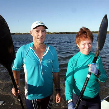 Margaret King and her paddling partner Ross McIntosh training at Maroochydore.