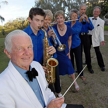 Members of the Sunshine Coast Concert Band ready for their next performance. (front to rear) Ken Chadwick, Jake Barden, Val Chadwick, Bev Gourlay, Lorraine Patterson, Earle Eldridge and Alan Winter.