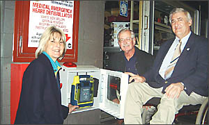 HEARTY CONTRIBUTION: Mayor of Ballina, Cr Phillip Silver (right), on June 13 launched the towns public-access defibrillator do