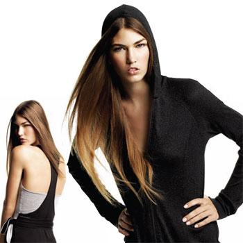 From left: Tie-waist dress with racerback in black/grey ($89.99). Right: Longline zip-front hooded jacket in black foil ($129.99).