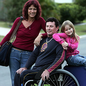 Andrew McGinty with partner Sarah and daughter Jorja-Rose, 6, will board a plane for India today.