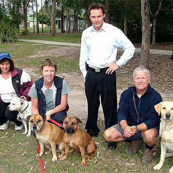 Jill Loman with Ennis, Jean Robinson with Angus and Jack, Greg Warren with Billy and Christian Dickson