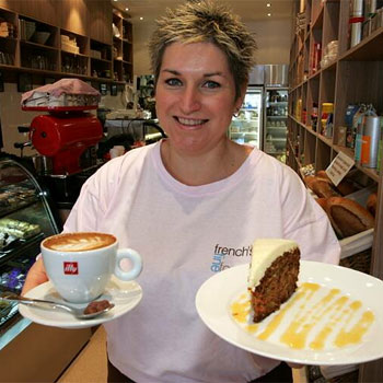 Kate French serves coffee and her famous carrot and pineapple cake at French's Fine Foods, and below, bocconcini and broccoli muffin.