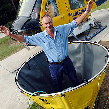 Cooroy inventor Chris Black has won national acclaim with his Water Hog firefighting bucket.