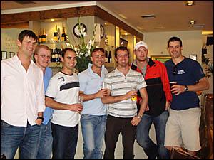AVING A PINT: Heath Radel (Roma), Luke Nelson (Ballina), Scott Roberts (Lismore), Ben Cryan (Cairns), Chris Nardi (Ewingsdale)