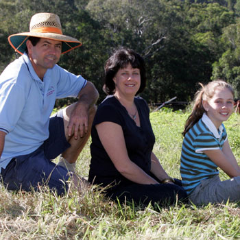 New-age farmer Andrew Woodford with wife Karen and daughter Sussanah