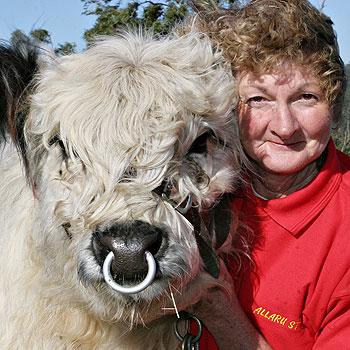 Allaru Stud owner Heather Macey and show winner Michael Flynnigan will parade at Farm Fantastic. Photo: Vicki Wood