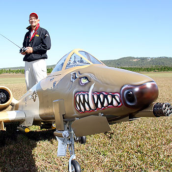 Chris Venter with his replica A10 Warthog twin-turbine jet, which will be part of the Suncoast Model Flyers airshow in Coolum. Photo: Jason Dougherty