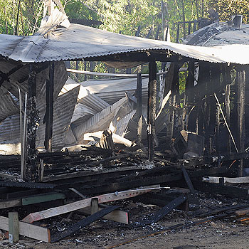 Fire has gutted a home at Doonan. The owner awoke to what he thought was rain just before 6am today - before his smoke alarms went off. Picture: Geoff Potter
