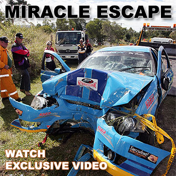 Did we hit anybody? - that's what a stunned rally driver was heard to ask just seconds after his high-powered Ford left the road and careened towards a group of terrified spectators on the Sunshine Coast on Sunday. Picture: Barry Leddicoat