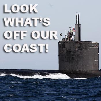 US Submarine off Caloundra, it was guided through the bar by the Wallaroo Australian Navy Tug Boat. Photo: Cade Mooney