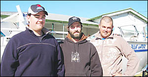 HELPING HANDS: Fishing Classic visitors (from left) Ryan Kimey, Joel Allen and Ryan Eurell were first on the scene after a rogu