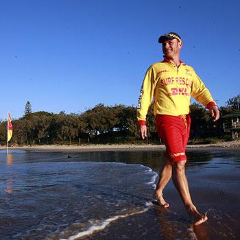 Lifesaver Byron Mills at Mooloolaba Beach. Photo: Kari Bourne