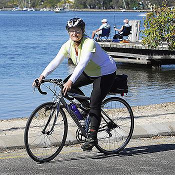 Noosa Council employee Mara Ellis enjoys cycling by the Noosa River. Photo: Geoff Potter
