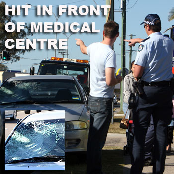 A pedestrian who apparently walked out in front of a Mitsubishi Lancer on Horton Parade, Maroochydore this morning had a lucky escape. The accident happened in front of a local medical centre.  Photo: Jason Dougherty