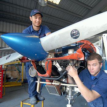 Caloundra Aircraft Maintenance Service employees Chris Fajarda and Josh Weidinger. Photo: Warren Lynam