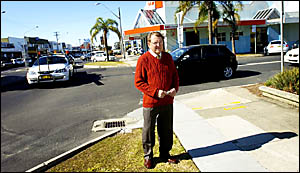 Ballina Chamber of Commerce and Industry secretary Bryan Marriott stands on the corner of Cherry and River Streets deliberating