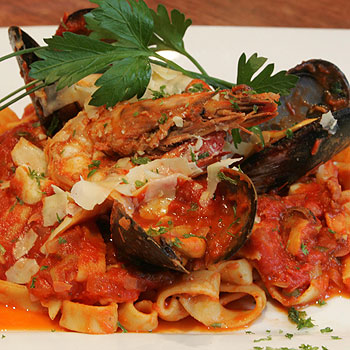 Fettuccine marinara is just one of the delectable dishes on the menu at Bella Venezia restaurant at Mooloolaba.