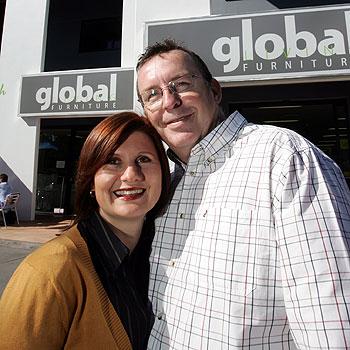 Global Living Furniture Owners Julia And Bruce Jones Walker. Photo: Chris  McCormack
