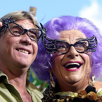 A life worth celebrating: Steve Irwin hams it up with Dame Edna.