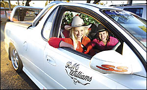 GOOD GIRLS: Trish Beddoes, from McLeans Ridges and Rebecca Rock from Monaltrie, off to the Ekka. Picture; CATHY ADAMS