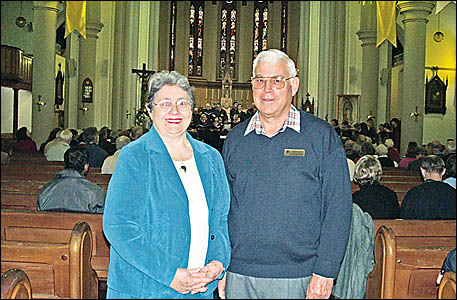 RIGHT NOTE: Friends of the Cathedral members Ann Spillane and Neville Willis help celebrate St Carthages Centenary. RACHEL AFF