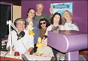 Bay FM staff (from left) Oliver McGelligot, Amanda Morris, Ian%Russell, Chezi Pullen (sunglasses), Lina Martiniello, Sandy Sope