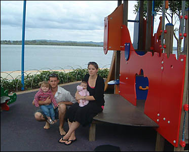 NOT SAFE: Ballina couple Travis and Cherie Stroud, pictured with their children, 18-month-old Chelsea and eight-week-old Caitli