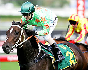 WOMANS TOUCH: Kathy OHara guides Danleigh to victory in the Group 2 Japan Racing Association Plate at Randwick at Easter. OH