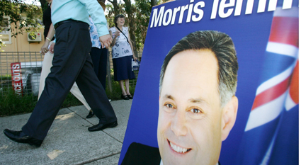 Campaigner . . . Morris Iemma Labor advertising board during the last election