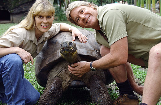 Steve and Terri Irwin with their beloved Harriet, who was one of the oldest creatures on the planet.
