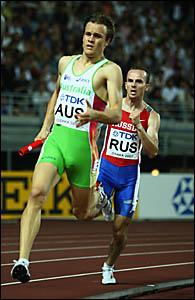 GIVING IT ALL HES GOT: Mullumbimbys Kurt Mulcahy runs his leg of the 4x400m heat at the world championships in Osaka, Japan.
