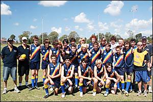 Back row, from left, Andy Davis (assistant coach), Paul Sanders (assistant), Brock Phyland, Ryder Court, Nick Gillett, Nick Dav