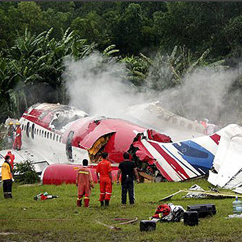 The scene of the Phuket plane crash which has claimed the lives of 88 people, including Australians.
