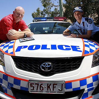 David Turnbridge chats with Constable Eloise Blundell at the police recruitment day in Maroochydore.  Photo: Kari Bourne