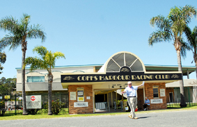 All alone ... Our man at the races, Greg White, looks for other punters outside the Coffs Harbour Racing Club main entrance.