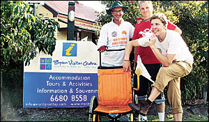 MARATHON MAN: Frank Muldowney (left) accompanied by supporters Richard Stoyles, of Mullumbimby (middle) and Nathan Sturdy, of M