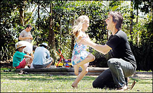 PERFECT PICNIC: Jason Miles and daughter Lilly kick up their heels during play time at the Dads and Kids Playgroup picnic in He