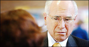 LISTEN HERE, MR PM! Prime Minister John Howard can expect a warm reception from Kyogle mayor and Pacific Highway% Taskforce cha
