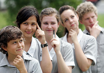 Tournament  of the Minds - Siena contestants front to back -  Lachlan Brown, Tara Jackson, Hayley Stockall, Maddie Zanos and Josh Thornton. Photo: Chris McCormack/ 169576a