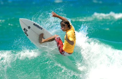 Surfing star ... James Athorn shows the spectacular style that won him yesterdays Barney Miller Classic. TREVOR VEALE
