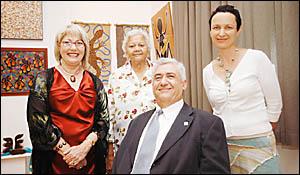 At the opening of the Ballina gallery are (from left) BACCI president Lyn Cochrane, Bundjalung elder Bertha Kapeen, Ballina may