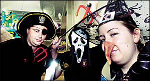 Beware of ghouls on the streets tonight, as trick or treaters remember All Hallows Eve. Pictured here (from left) are Aaron Sm