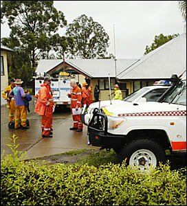 Emergency services personnel at Nimbin police station prepare to search for the missing man at Mt Nardi.