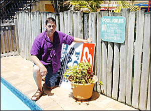 FED UP: Mick Marrs, caretaker at the Lennox Head Beachfront Apartments, inspects the damage. Picture: BRENDEN ALLEN