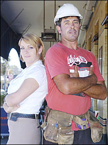 ON THE DAY: Accommodations officer and mother Sonia Howe and construction worker Clint Adams. Picture: Brenden Allen