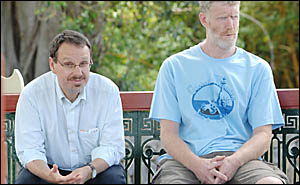 GREEN MACHINE: Greens NSW MP John Kaye (left) and candidate for Page Theo Jongen were in Lismore on Tuesday with the grim messa