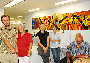Unveiling of the circle sentence mural at Lismore Court House was watched by (from left) TAFE students Damien Moss and Daphne