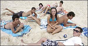 SCHOOLIES: Sydney teens (clockwise from left) Robert Hing, Jackson Lennon, Katherine Weekes, Casey Miller, Michael Goetz, Robbi