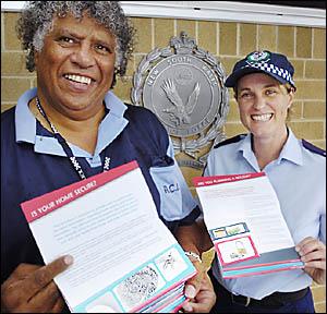 Lismore Police Aboriginal Community Liaison Officer Lester Moran and Crime Co-ordinator Sgt Bernadette Ingram with the new Home